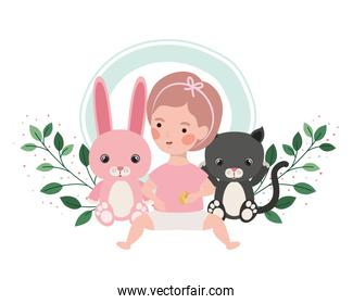 little kid playing with cat and bunny and branch and leaves of background