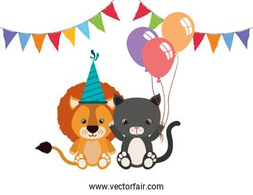 card of animals for baby on white background
