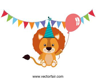 cute lion with helium balloon and garlands