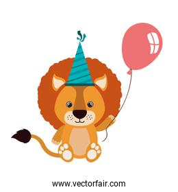 cute lion with helium balloon