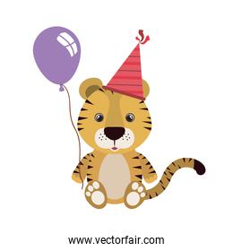 cute tiger with purple helium balloon