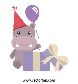 cute hippo with gift box