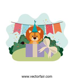 pretty lion with gift box in landscape