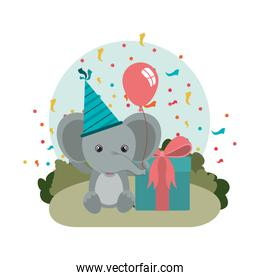 cute elephant with gift box in landscape