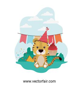 cute tiger with party hat and garlands