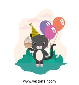 cute cat animal with party hat