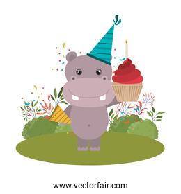 cute hippo with party hat