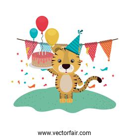 cute tiger with party hat