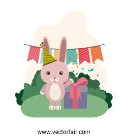cute rabbit with gift box in landscape