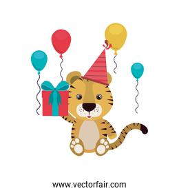 cute tiger with gift box