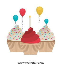 set cupcakes with candle and balloons helium
