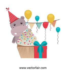 cute hippo with party hat on white background