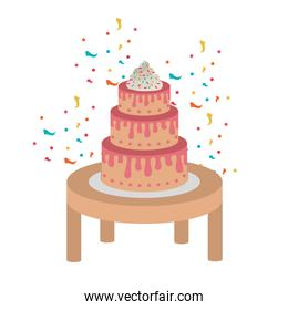 cake on wooden table of happy birthday