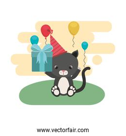 cute cat with gift box in landscape