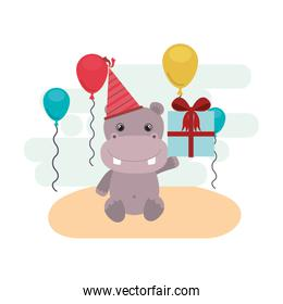 cute hippo with gift box in landscape