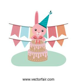 cute bunny with cake of happy birthday