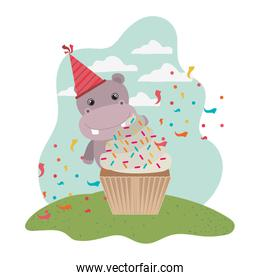 cute hippo with cake of happy birthday
