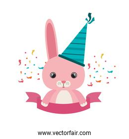 cute bunny with party hat on white background