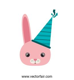 head of bunny with party hat isolated icon