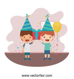 boys with party hat in birthday celebration