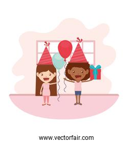 girls with party hat and helium balloon in birthday celebration