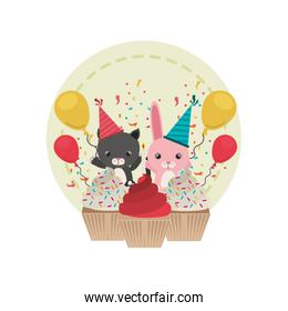 card of celebration with animals on white background