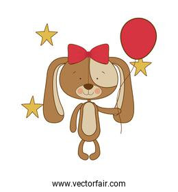 cute puppy with helium balloons
