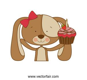 cute puppy with cake in hand