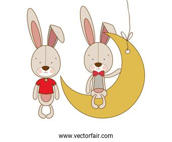 cute bunnies sitting on the moon isolated icon