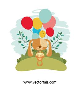 cute puppy with helium balloons in landscape background