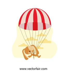 cute puppy with parachute and background clouds