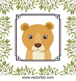 cute and adorable tiger with frame of leaves