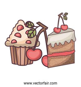 delicious and fresh cake with cherry