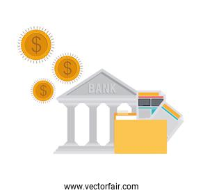 bank finance building in white background