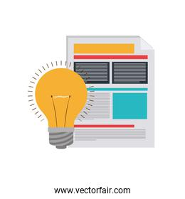 file sheet with light bulb in white background