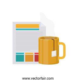 file sheet with coffee cup in white background