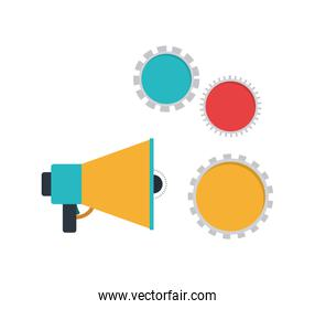 megaphone with white background Vector illustration