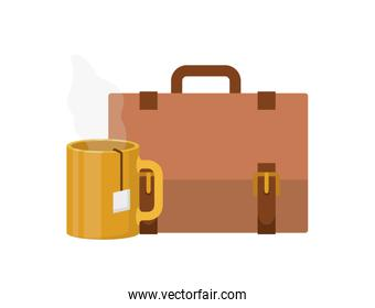 suitcase of businessman with coffee cup
