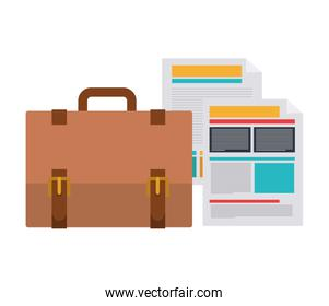 suitcase of businessman with file sheet in white background