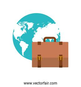 suitcase of businessman with planet earth of background
