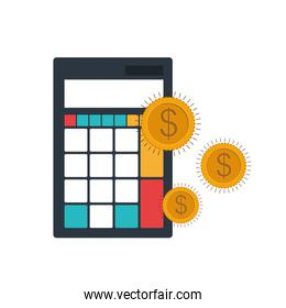 calculator with coins in white background
