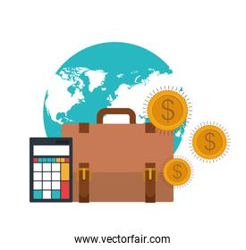set of icons with suitcase of businessman in white background