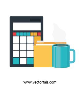 set of icons with calculator in white background