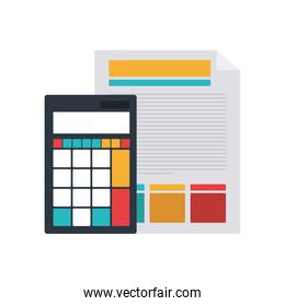 file sheet with calculator in white background