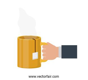 hand with cup of coffee with white background