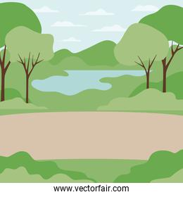 landscape with trees and plants isolated icon
