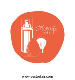 glass bottle of cosmetics product in white background