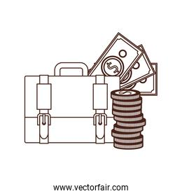 silhouette of suitcase of businessman with money on white background