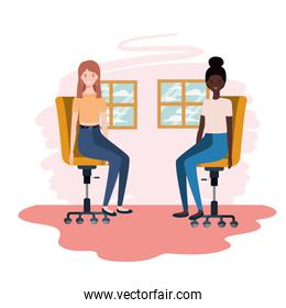 women in living room sitting in office chair