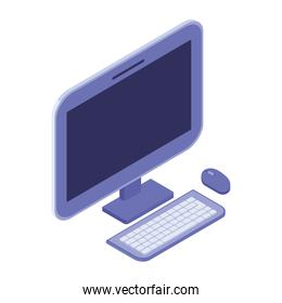 3d desktop computer screen with keyboard and mouse